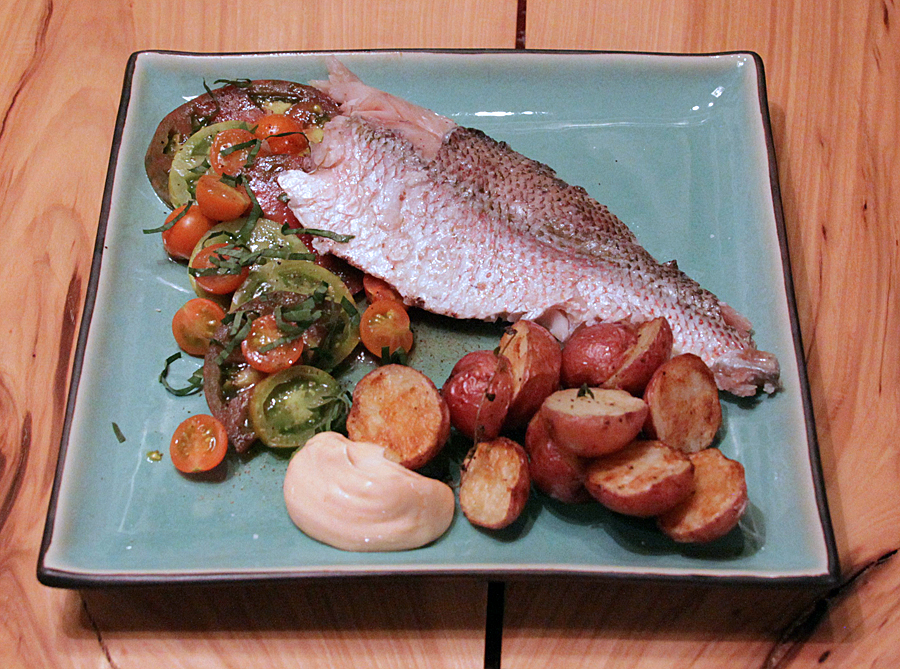 Red Snapper with Brown Butter Tomatoes and Roasted Potatoes